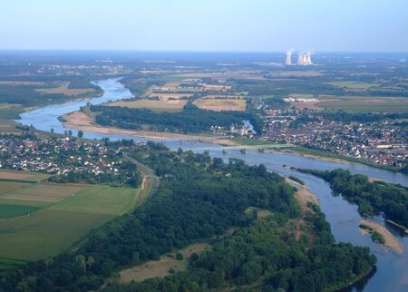 sur: Aerial view of Loire river at Sully sur Loire, France