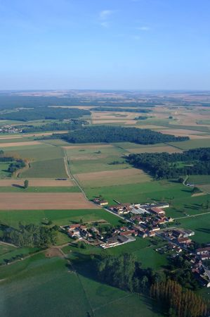 bourgogne: Aerial view of french village countryside, north Yonne department, Bourgogne region, France