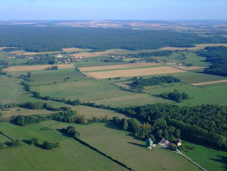 bourgogne: Aerial view of french countryside north Yonne department, Bourgogne region, France Stock Photo