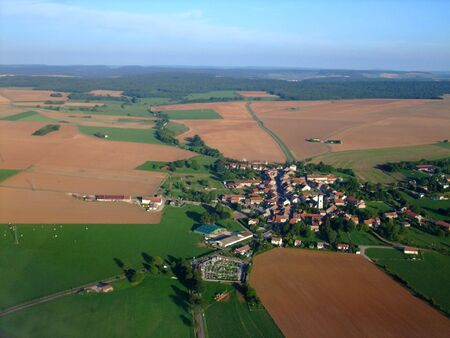 Aerial view of typical french village in Vosges region, France
