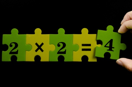 multiplication: Multiplication colorful textured puzzle pieces