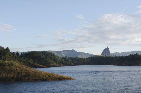 Beautiful Colombian landscape: Guatape Reservoir, and Piedra del Peñol, in Antioquia, Colombia