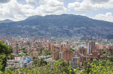 Cityscape of Medellin, Antioquia, Colombia, in its mountainous surroundings