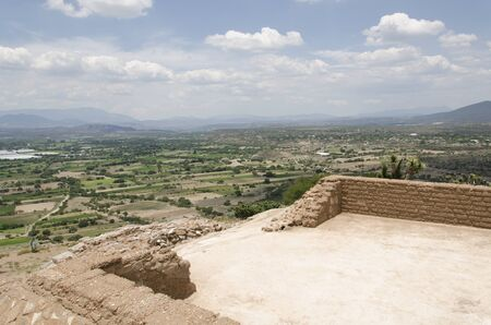 Mezquital Valley from a Mesoamerican prehispanic construction at the Pahñu archeological site, in Hidalgo, Mexico Stock Photo