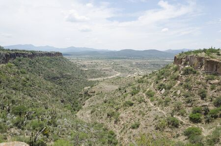 Mezquital Valley, view from the Pahñu archeological site, in Hidalgo, Mexico; semi desert landscape