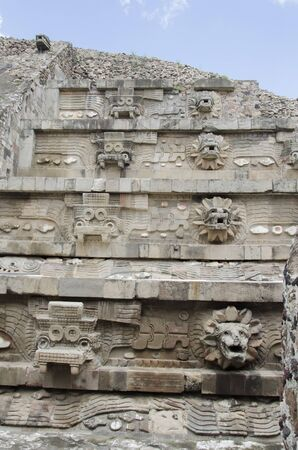 Details of the Temple of the Feathered Serpent, Quetzalcoatl, in Teotihuacan, a prehispanic Mesoamerican city located in the Valley of Mexico