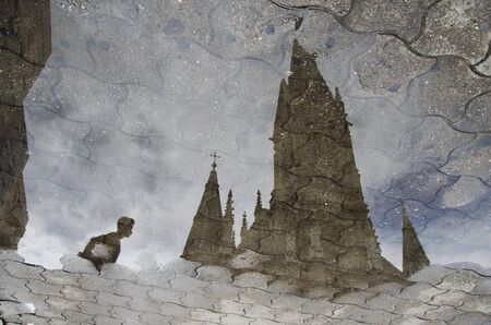 Unusual view of the Cathedral of Mar del Plata: reflection on the floor of its upper part Banco de Imagens