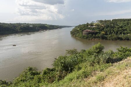 Triple frontier, international border between Paraguay, Brazil and Argentina; geographical point where the Iguazu and Parana rivers converge. View from the Argentine side.