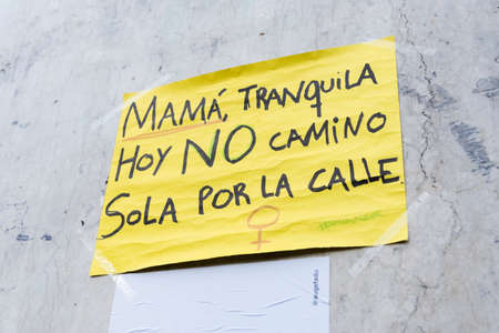 CABA, Buenos Aires / Argentina; March 9, 2020: international women's day. Poster: mom, don't worry, today I'm not walking alone on the street 에디토리얼