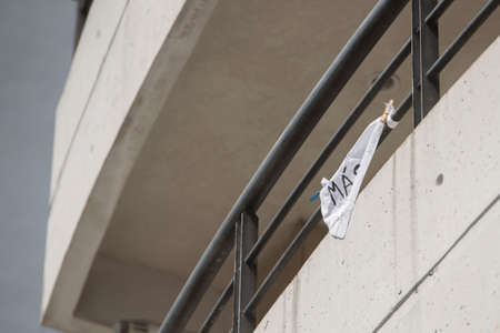 CABA, Buenos Aires / Argentina; March 24, 2020: National Day of Remembrance for Truth and Justice; in the middle of the coronavirus quarantine, covid-19. White handkerchiefs on balconies and windows