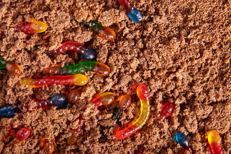Colorful and bright assorted gummy worms in chocolate cake ground, halloween party food, copy space