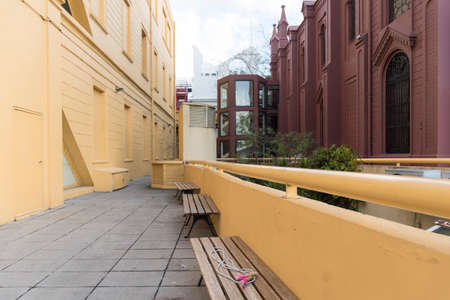 View of the terrace of the Recoleta Cultural Center, an emblematic building of singular architecture and colorful walls, of great importance in the cultural panorama of Buenos Aires, Argentina Banco de Imagens
