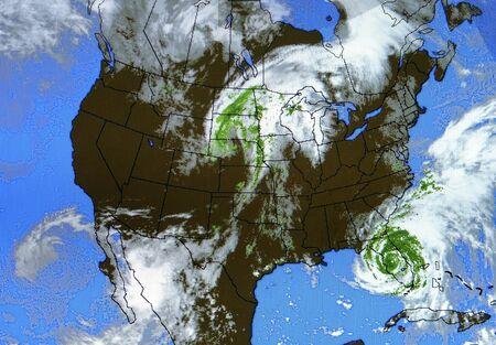 Een echte weerkaart op een luchthaven. U kunt zien dat de orkaan Frances (september 5,2004) in Florida. (8MP camera)