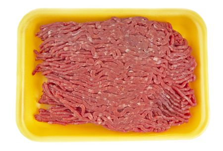 90% lean ground beef  in a styrofoam tray (14MP camera,isolated)