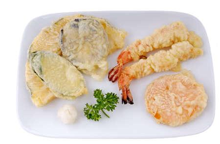 Vegetable and shrimp tempura, 12MP camera, isolated,macro.