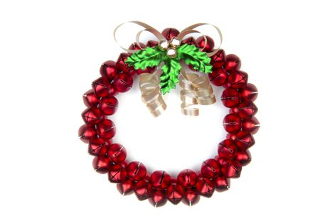 A cheery Christmas sleighbell wreath. (12MP camera, isolated)