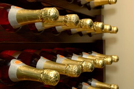 Rows of bottled wine in a winery. Focus = 2nd bottles from the left. 12MP camera. Фото со стока - 257752