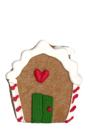 Gingerbread House cookie. (cookie series). Isolated. 12MP camera. Фото со стока