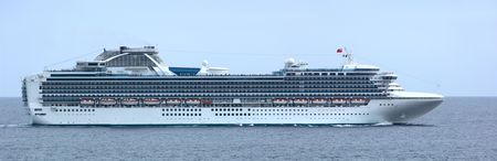 This is a panorama (lots of detail at 100%) of a luxury cruise ship in Cabo San Lucas, Mexico. 12MP camera. Focus = midship.
