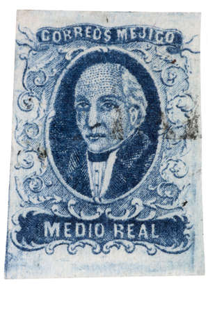 Authentic first stamp of Mexico, 1856 12 real blue Miguel Hidalgo with light cancellation, hand cut. 12MP camera, isolated.