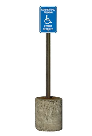 A true metal handicapped parking sign with rusty pole. Isolated, 12MP camera.