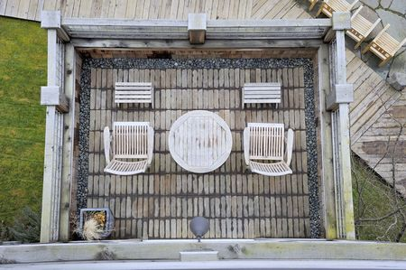 View of a Zen-like deck below at a luxury inn on Whidbey Island, Washington, USA.