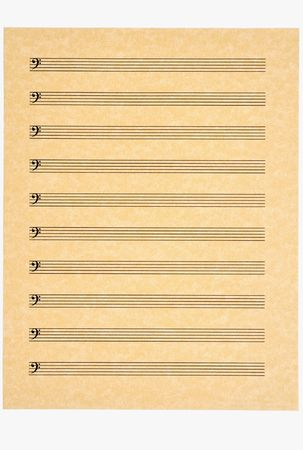 A blank music sheet with bass clefs on parchment paper ready for your composition. Isolated.