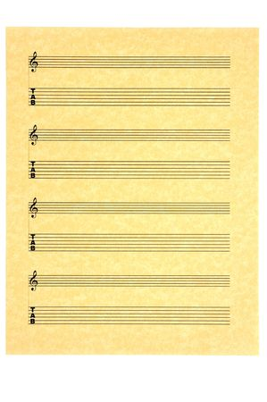 Blank Music Sheet for guitar on parchment paper for your composition. Isolated. Фото со стока