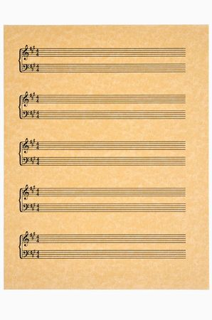 Key of A in 44 time blank music sheet on parchment paper ready for your composition. Isolated.