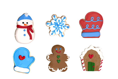 A set of six Christmas cookies : gingerbread man, gingerbread house, snowflake, snowman, two gloves. VECTOR. Ilustração