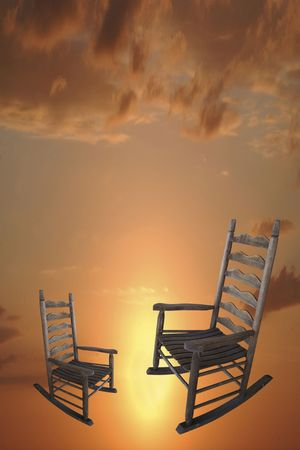 Rocking chairs with sky background