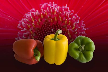 Disigned with three peppers and flower background