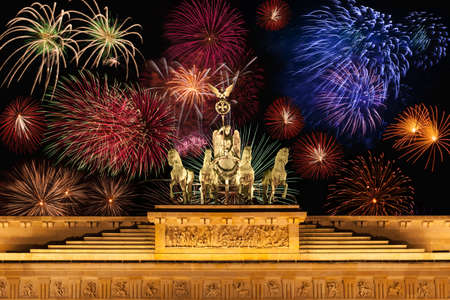 Germany, Berlin, Brandenburg Gate, Fireworks photo