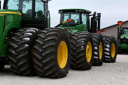 winter tires: John Deere tractors in a row