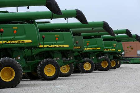 John Deere tractors in a row Stock Photo - 17051374