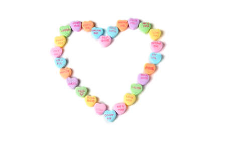 Valentines Day Candy Hearts in the shape of a heart