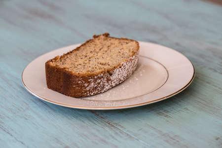 banana bread: Banana bread on a white plate