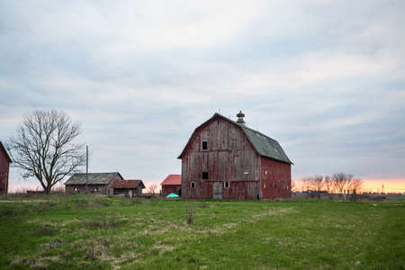 homestead: Red barn at sunset with green field Editorial