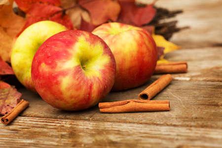 Apples and cinnamon sticks in Autumn