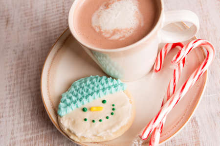 fait maison biscuit de bonhomme de neige, des cannes de bonbons et chocolat chaud sur une plaque photo