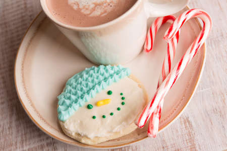 home made snowman cookie, candy canes and hot chocolate on a plate close up photo