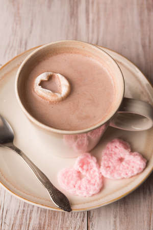 hot chocolate and crocheted hearts for Valentines Day photo