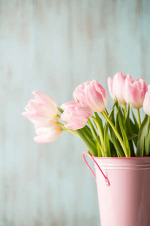 Pink and white Tulips in pink vase