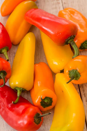Colorful mini sweet bell peppers from above photo