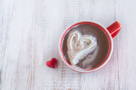 cold weather: Hot chocolate drink with whipped cream heart