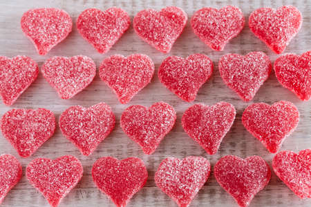 gummy: Valentines Day red candy gummy hearts Stock Photo