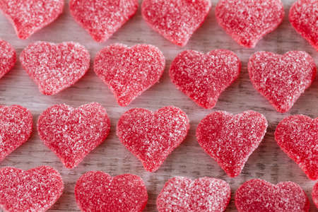 Valentines Day red sugary gummy hearts candy