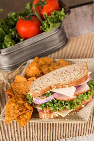 swiss cheese: Ham turkey and swiss cheese sandwich on wheat bread with chips and vegetables