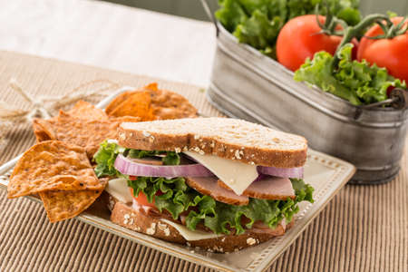 swiss cheese: Healthy lunch ham turkey and swiss cheese sandwich with vegetables and chips Stock Photo