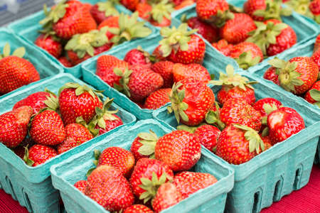 Baskets of fresh red strawberries at the farmers market in Knoxville Tennessee Stock Photo